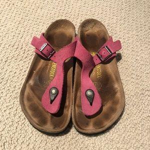Pink suede Birkenstocks